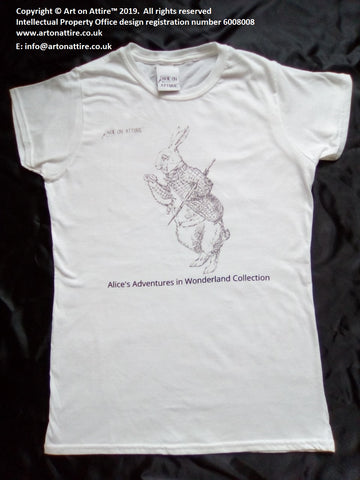 Women's White Rabbit Alice in Wonderland t-shirt - Art on Attire™
