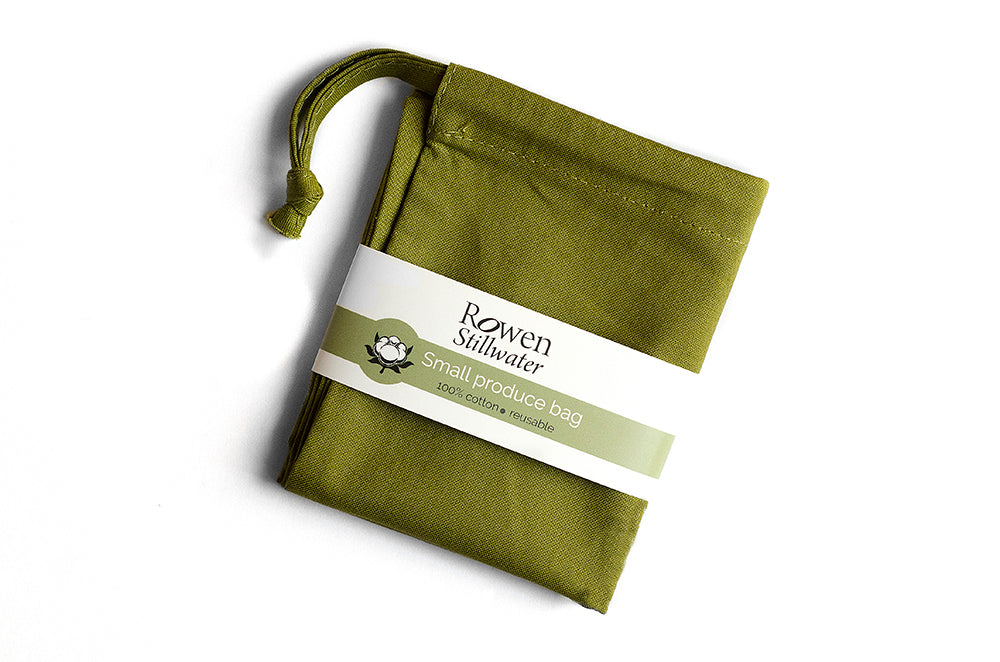 Small cotton storage bag in olive green