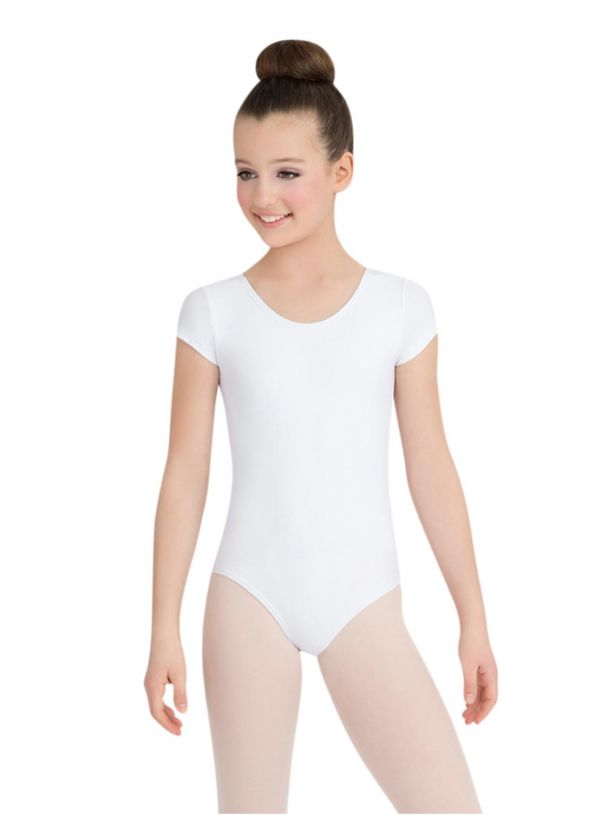 White Short Sleeved Leotard Petite Elite