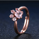 Beautiful 925 Sterling Silver Rose Gold Natural Quartz Paw Print Ring