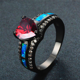 "January Birthstone - Black ""Gold-Filled"" Opal Heart Ring"