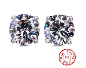 Solid 925 Silver Stud One (1) Carat Round Cut CZ Diamond Earring Set