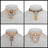 Bohemian Style Beads and Tassels Choker Necklaces
