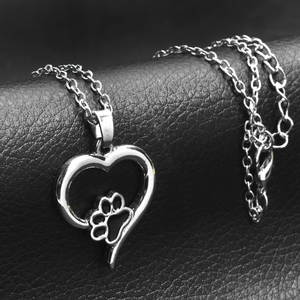 "Beautiful Pet ""Paw Print"" Necklace - Silver w/ Black Charm"
