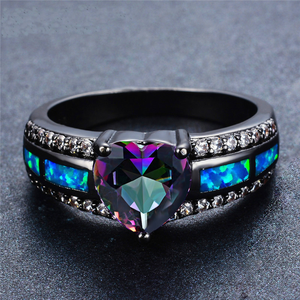 "June Birthstone - Black ""Gold-Filled"" Opal Heart Ring"