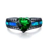 "May Birthstone - Black ""Gold-Filled"" Opal Heart Ring"