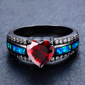 "July Birthstone - Black ""Gold-Filled"" Opal Heart Ring"