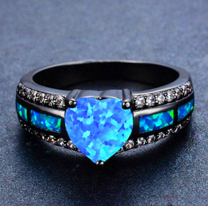 "March Birthstone - Black ""Gold-Filled"" Opal Heart Ring"