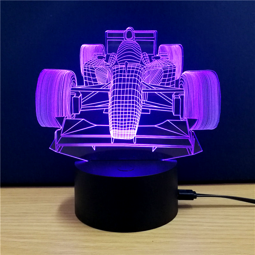 ... 3 D LED Indy Car Table Lamp   7 Changeable Colors ...