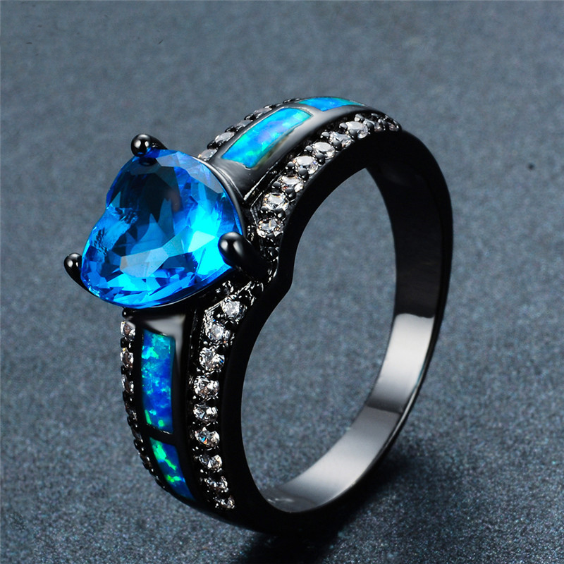 december birthstone black gold filled opal heart ring knoobly