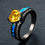 "August Birthstone - Black ""Gold-Filled"" Opal Heart Ring"