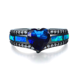 "September Birthstone - Black ""Gold-Filled"" Opal Heart Ring"