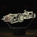 3-D LED Race Car Table Lamp - 7 Changeable Colors