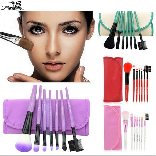 7 Piece Professional Soft Cosmetic Makeup Brushes and Pouch Bag