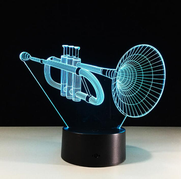 3-D LED Trumpet Table Lamp - 7 Changeable Colors