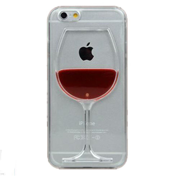 iPhone Liquid Red Wine Glass - Transparent Phone Case