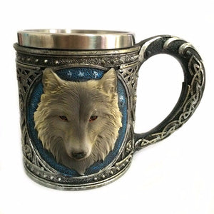 Double Wall Stainless Steel 3D Wolf Coffee Mug
