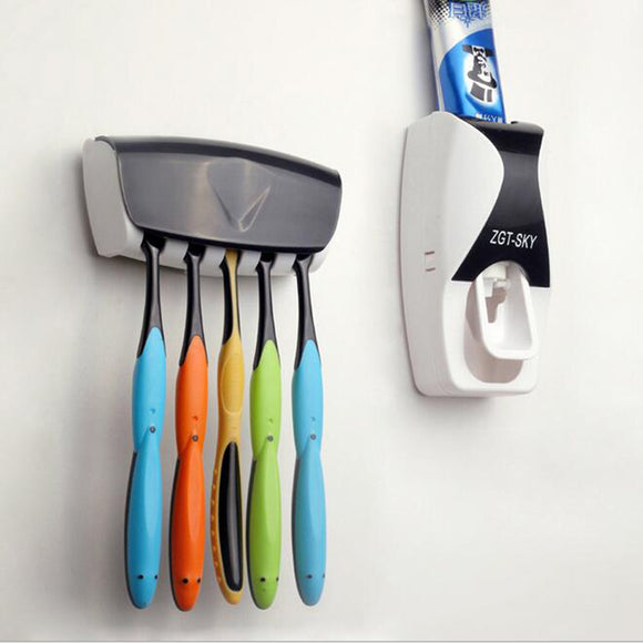Wall Mount Automatic Toothpaste Dispenser and Toothbrush Holder Set