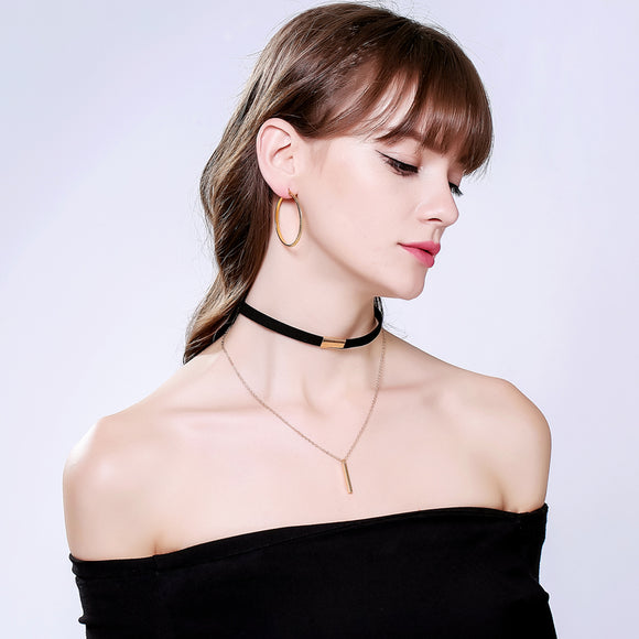 Black and Brown Velvet Choker Necklace