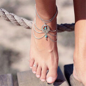 Boho Style Anklet Bracelet With Chain Beads