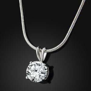 Luxury 2 Carat CZ Diamond Round Cut Pendant and Silver Necklace