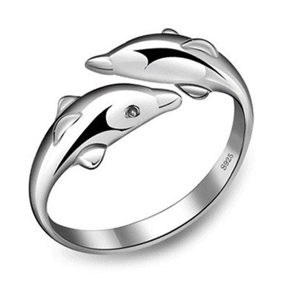 Silver Plated Double Dolphin Adjustable Ring w/ Crystal Eyes