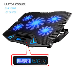 12 - 15.6 Inch - 5 Fan Laptop Cooling Pad - FREE SHIPPING!