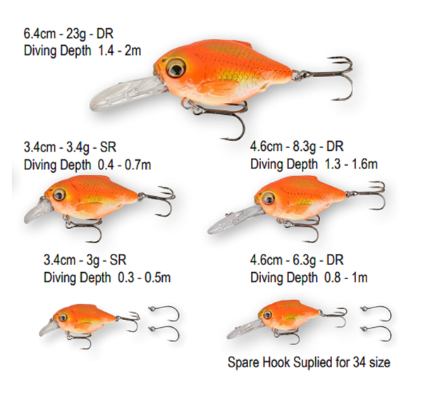 Savage Gear 3D Crucian Crank Lure | 3.4 | 6.4cm | 3.0 - 23g | Various Colours