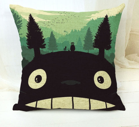 My Neighbor Totoro Art on Linen Blend Decorative Throw Pillow Cushion Cover - Art on your Pillow