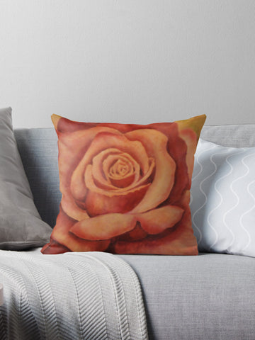 Rose with Green Art on Decorative Throw Pillow Cushion Cover by Karen Storay - Art on your Pillow