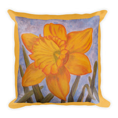 Spring Daffodil Art Painting On Premium Pillow - Art on your Pillow