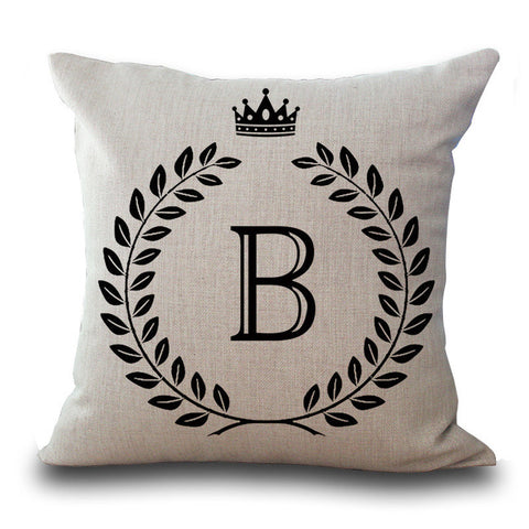 Monogram and Crown Throw Pillow Cushion Cover Decorative Pillowcase All Letters - Art on your Pillow