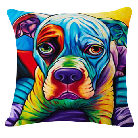 Dogs Art On Decorative Linen Blend Throw Pillow Cushion Covers - Art on your Pillow