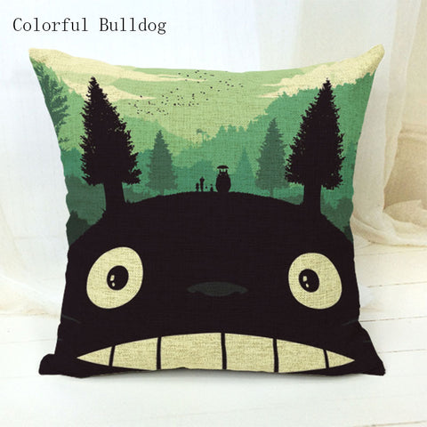 My Neighbor Totoro Art Decorative Throw Pillow Cushion Cover Linen Blend 18 inches Square - Art on your Pillow
