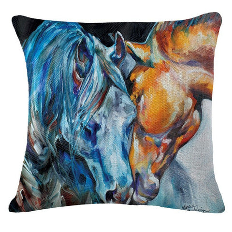 Colorful Horse Art  Decorative Linen Blend Throw Pillow Cushion Covers. 18 inches - Art on your Pillow