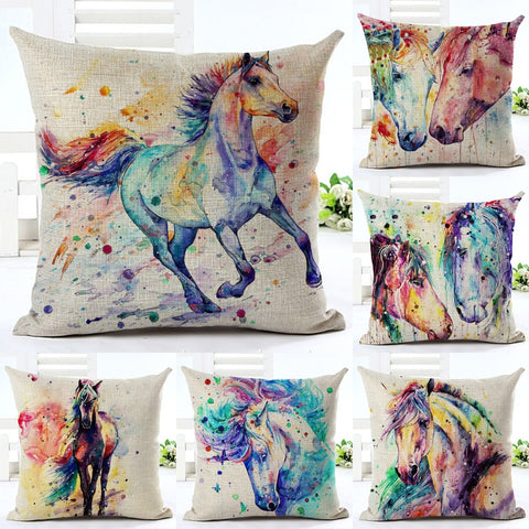 Watercolor Horse Art on Linen Blend Decorative Throw Pillow Cushion Cover - Art on your Pillow