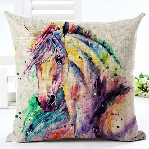 Watercolor Horse Art on Linen Blend Decorative Throw Pillow Cushions. $29.99 - Art on your Pillow