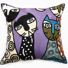 "Cats Throw Pillow / Cushion Cover Full Chain Embroidery 18"" or 45cms Square - Art on your Pillow"