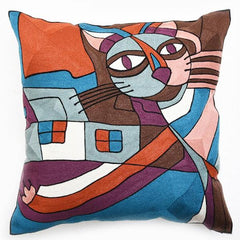 "Cat Full Chain Embroidery Throw Pillow/ Cushion Cover 18"" or 45cms Square - Art on your Pillow"