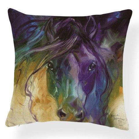 Horses Contemporary Abstract Art on Decorative Throw Pillow Cushion Cover - Art on your Pillow