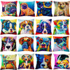 Image of Dogs Art On Decorative Linen Blend Throw Pillow Cushion Covers - Art on your Pillow
