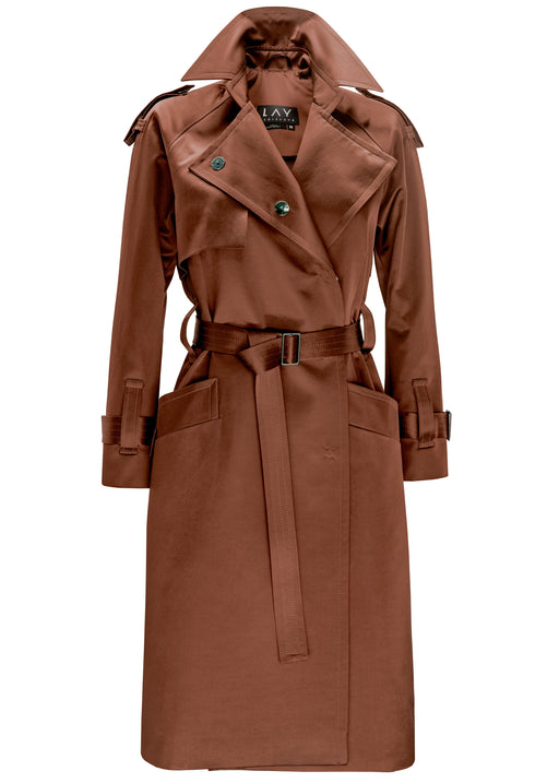 Cinnamon Raglan Sleeve Satin Trench