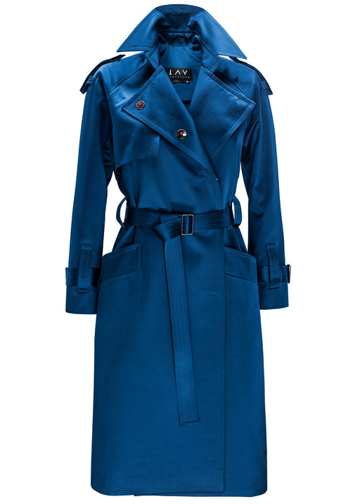 PRE-ORDER Prussian Blue Raglan Sleeve Satin Trench