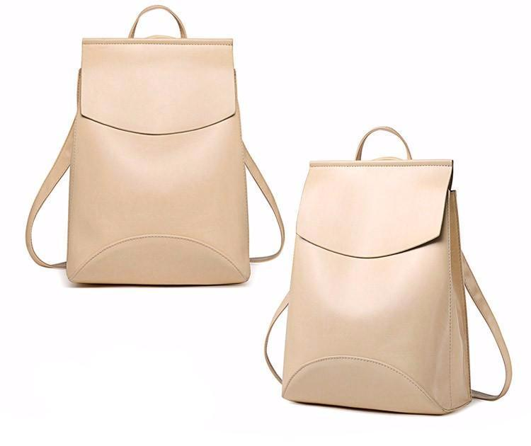 LEATHER FLAP POUCH BAGPACK - CREAMY-WHITE - MyEmilia