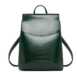LEATHER FLAP POUCH BAGPACK - GREEN - MyEmilia