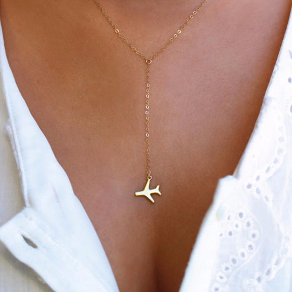 Necklace - AIRPLANE PENDANT WANDERLUST NECKLACE - GOLD