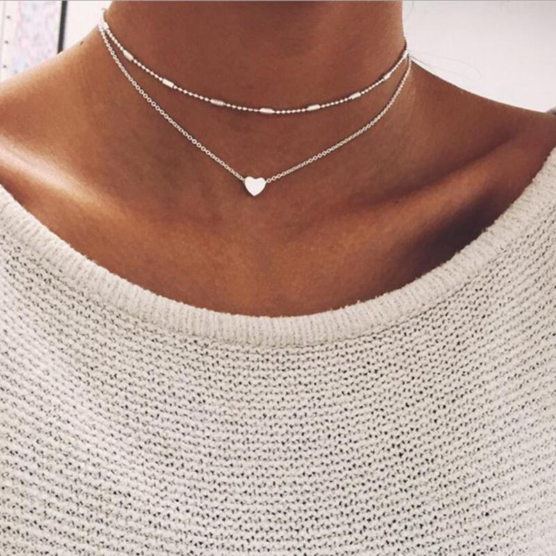 Necklace - DOUBLE TINY HEART PENDANT NECKLACE - SILVER