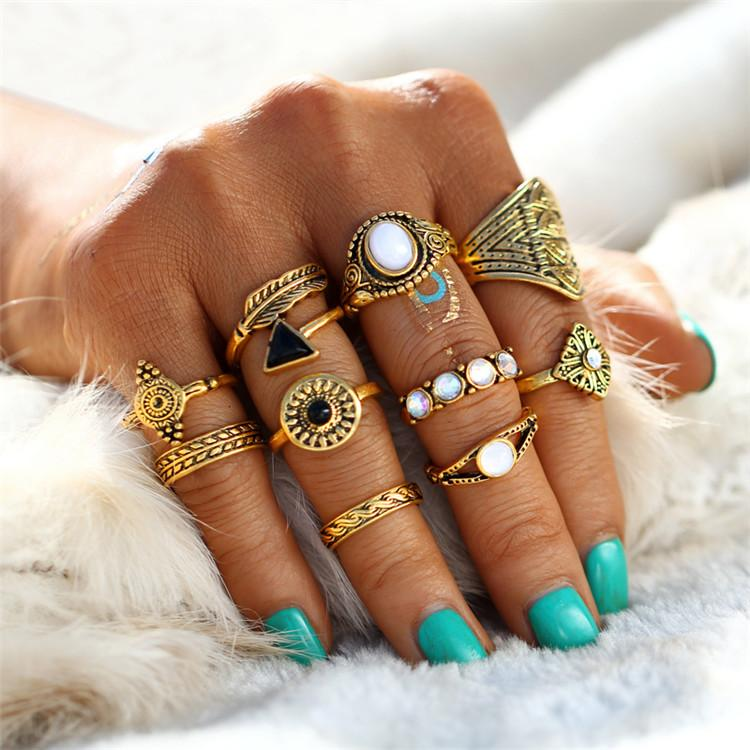 Ring - 10-PIECE VINTAGE BOHO RING SET - GOLD