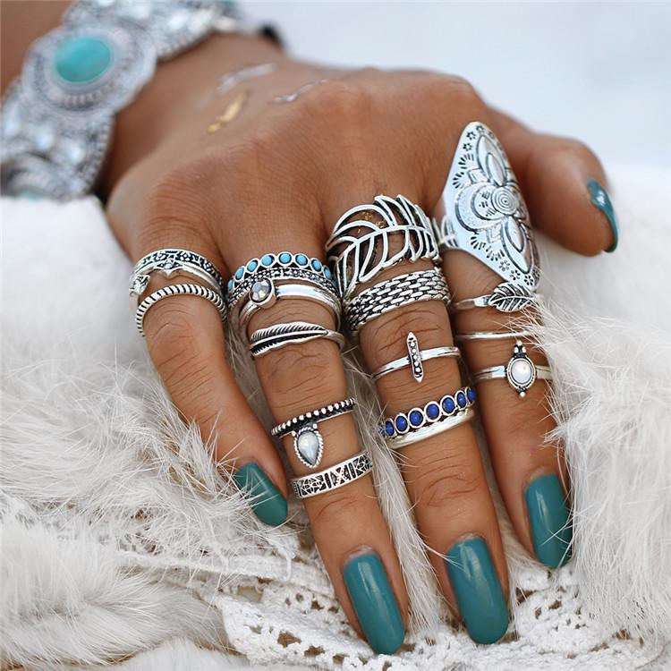 Ring Set - 18-PIECE FEATHER RING SET - SILVER