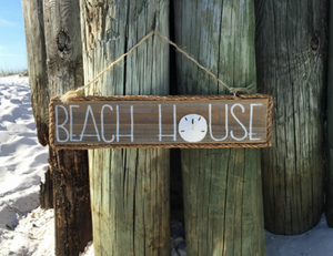 Natural Wood Beach House Sign